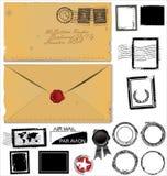 Jogo velho do selo do envelope e de porte postal Foto de Stock
