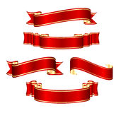 Jogo vermelho da coleção da bandeira da fita Imagens de Stock