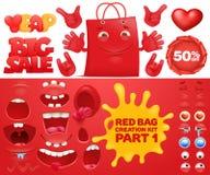 Jogo vermelho da criação do caráter do emoticon do saco da venda Foto de Stock