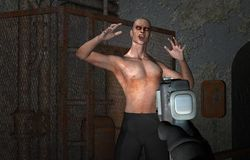 Jogo video do zombi da arcada Fotografia de Stock