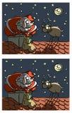 Jogo do Visual das diferenças de Santa e de Rudolf ilustração royalty free