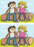 Jogo do Visual das diferenças dos pares do amor ilustração do vetor