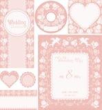 Jogo Wedding 2 Fundos cor-de-rosa com rosas Foto de Stock Royalty Free