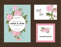 Jogo Wedding O menu, salvar a data, cartão do convidado Fotos de Stock