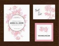 Jogo Wedding O menu, salvar a data, cartão do convidado Foto de Stock Royalty Free