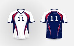 Jogos brancos, azuis e vermelhos do futebol do esporte do teste padrão, jérsei, molde do projeto do t-shirt ilustração do vetor