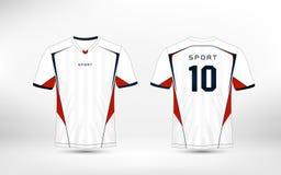 Jogos brancos, vermelhos e azuis do futebol do esporte do teste padrão, jérsei, molde do projeto do t-shirt ilustração do vetor