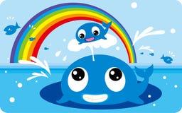 Jogos da família da baleia Imagens de Stock Royalty Free