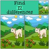 Jogos das crianças: Diferenças do achado Cabra bonito pequena do bebê Fotografia de Stock Royalty Free