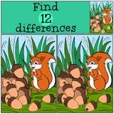 Jogos das crianças: Diferenças do achado Esquilo bonito pequeno Foto de Stock Royalty Free