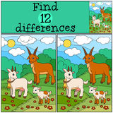 Jogos das crianças: Diferenças do achado Família da cabra Foto de Stock Royalty Free