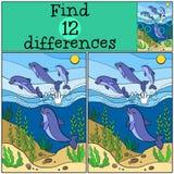 Jogos das crianças: Diferenças do achado Grupo de golfinhos bonitos pequenos Imagem de Stock