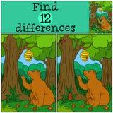 Jogos das crianças: Diferenças do achado O urso bonito olha a colmeia Fotografia de Stock