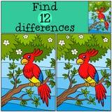 Jogos das crianças: Diferenças do achado Papagaio bonito pequeno ilustração stock