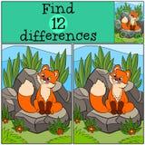 Jogos das crianças: Diferenças do achado A raposa bonito pequena do bebê olha a mosca Fotos de Stock