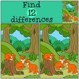 Jogos das crianças: Diferenças do achado Raposas bonitos pequenas do bebê Imagens de Stock