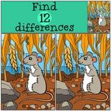 Jogos das crianças: Diferenças do achado Rato bonito pequeno Fotografia de Stock