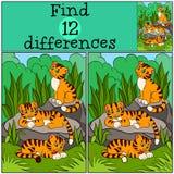 Jogos das crianças: Diferenças do achado Tigres bonitos pequenos Imagens de Stock