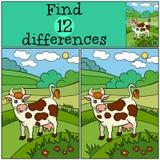 Jogos das crianças: Diferenças do achado Vaca bonito Fotografia de Stock Royalty Free