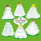 Jogos das crianças seis maneiras diferentes de tirar a árvore de Natal Lápis do uso e para tirar cada árvore de Natal na maneira  ilustração do vetor
