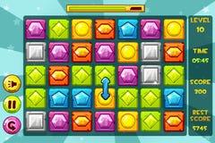 Jogos das GEMAS Match3 da relação do vetor Pedra preciosa colorido, ícones dos ativos do jogo e botões ilustração royalty free