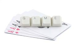 Jogos de cartão em linha Fotografia de Stock Royalty Free