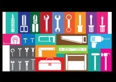 Jogos de ferramentas brancos Fotografia de Stock