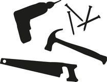 Jogos de ferramentas - a chave de fenda sem corda, parafusos, martelo, viu ilustração royalty free