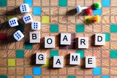 Jogos de mesa Home entertainment, jogos, lona, cubos, cones imagem de stock royalty free