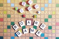 Jogos de mesa Home entertainment, jogos, lona, cubos, cones fotografia de stock