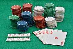 Jogos de vencimento do pôquer, resplendor real imagem de stock royalty free
