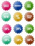 Jogos do emblema do disconto da venda Fotografia de Stock Royalty Free