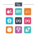 Jogos do esporte, ícone da aptidão Futebol, basquetebol Foto de Stock