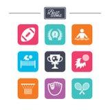 Jogos do esporte, ícone da aptidão Futebol, golfe Fotografia de Stock