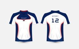 Jogos do futebol do esporte do teste padrão da listra azul, branca e azul, jérsei, molde do projeto do t-shirt ilustração royalty free
