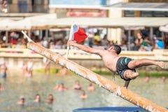 Jogos dos esportes de água de Xlendi foto de stock royalty free