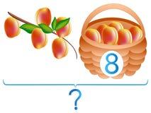 Jogos educacionais para crianças, adição matemática, exemplo com pêssegos Fotografia de Stock Royalty Free
