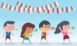 Jogos especiais tradicionais de Indonésia durante o Dia da Independência A raça traz mármores na colher Estilo liso da ilustração ilustração royalty free