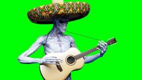 Jogos estrangeiros engraçados na guitarra acustic Shaders realísticos do movimento e da pele rendição 3d Ilustração do Vetor