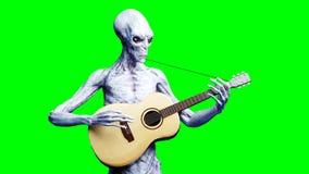 Jogos estrangeiros engraçados na guitarra acustic Shaders realísticos do movimento e da pele rendição 3d Ilustração Stock