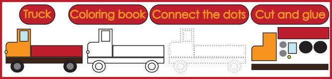 Jogos para as crianças 3 em 1 O livro para colorir, conecta os pontos, corte ilustração stock