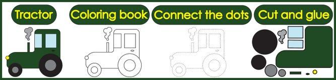 Jogos para as crianças 3 em 1 O livro para colorir, conecta os pontos, corte ilustração royalty free
