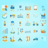 Jogue e aprenda, cedo tornando-se Pré-escolar e crianças ajustados Ilustração lisa do vetor do estilo Fotografia de Stock Royalty Free