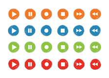 Jogue e grave vetor ajustado da cor do grunge 4 do ícone do botão Foto de Stock Royalty Free