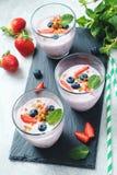 Jogurtów smoothies z świeżymi owoc i jagodami fotografia stock