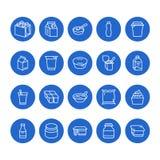 Jogurt, der flache Linie Ikonen verpackt Milchprodukte - Milchflasche, Creme, Kefir, Käseillustrationen Dünne blaue Zeichen für Vektor Abbildung