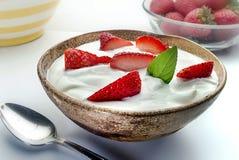 Jogurt in der Schüssel auf Holz Lizenzfreie Stockfotos