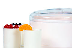 Jogurt with fruits Stock Images