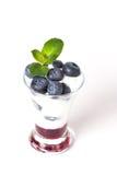 Jogurt mit Blaubeere, Stau und Minze stockfotos
