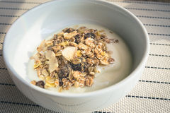 Jogurt mit Getreide und Körnern Stockfotografie